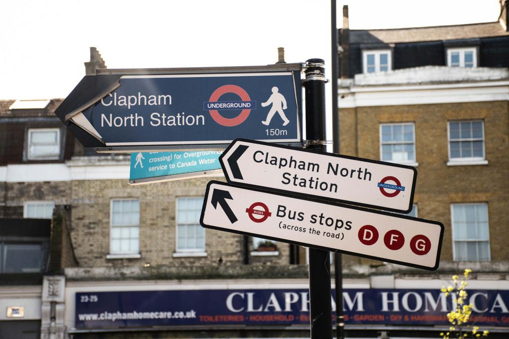 Transport signs in Clapham