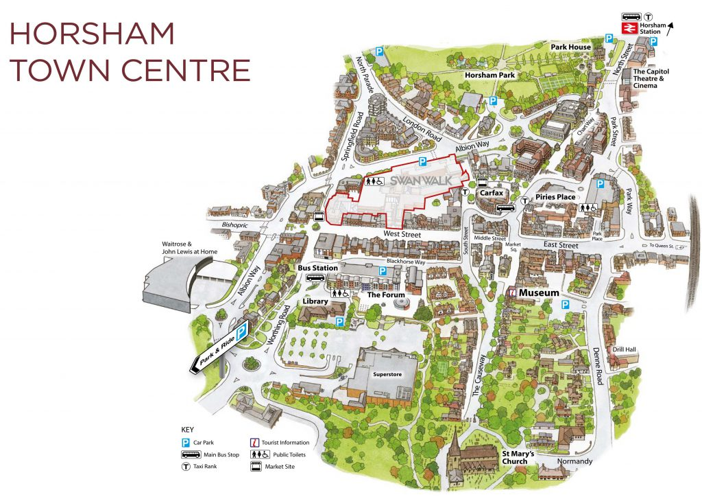 map of horsham town centre